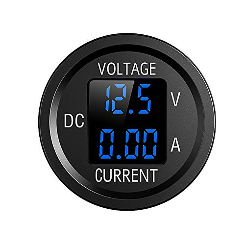 LED Digital Voltmeter Gleichspannungsanzeige 12V/24V für Autos Motorräder LKWs(Blau)