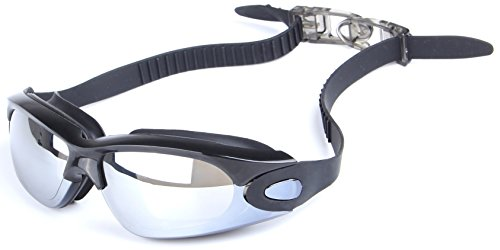 my-Spexx Basics Schwimmbrille für Erwachsene Schwarz | Verspiegelte Gläser, Antibeschlag, verstellbares Kopfband und 100% UV-Schutz