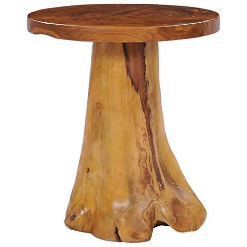 vidaXL Teak Massiv Couchtisch Rustikal Beistelltisch Wohnzimmertisch Sofatisch Kaffeetisch Holztisch Massivholztisch Tisch 40x40cm Rund