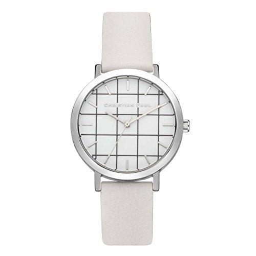 Christian Paul grl-03Hombre Piel Blanco y Acero Inoxidable Banda Esfera Blanca Reloj