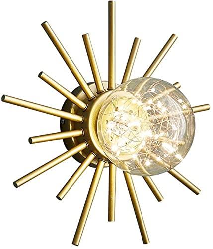 GAOYINMEI Lluminación de Pared Vidrio Simple Sala de Estar Dormitorio Lámpara de Noche TV Fondo de Pared Pasillo de la Pared Lámpara de Pasillo de la lámpara de Cadena incorporada Oro
