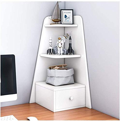 Skrivbordshyllor kreativ flerskikts skrivbord bokhylla bokhylla med låda skrivbordsorganisatör trä display hylla kontor förvaringsställ skrivbord förvaring organisatör (färg: Vit) – vit
