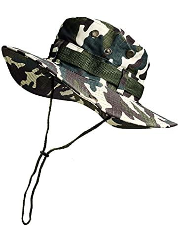 Sombrero de Pescador Camuflaje Plegable, Gorro de Sol para Aire Libre Caza Viaje Pesca, Sombrero de Militar de Algodón para Climb Camping (SFM-1-4)