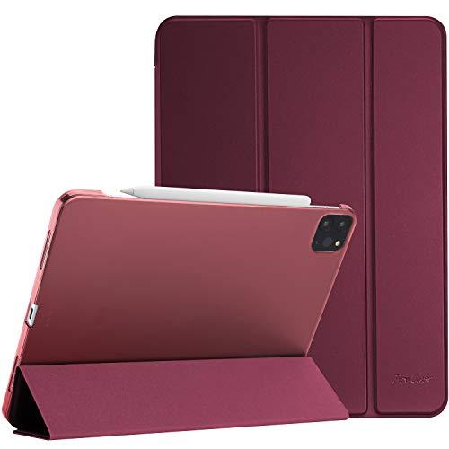 ProCase Hülle für iPad Pro 11 Zoll 2nd Gen 2020,Dreifach Falt Klapp Schutzhülle Case,Ultra Dünn Leicht Ständer Schal Smart Cover mit Translucent Frosted Rück -Wein