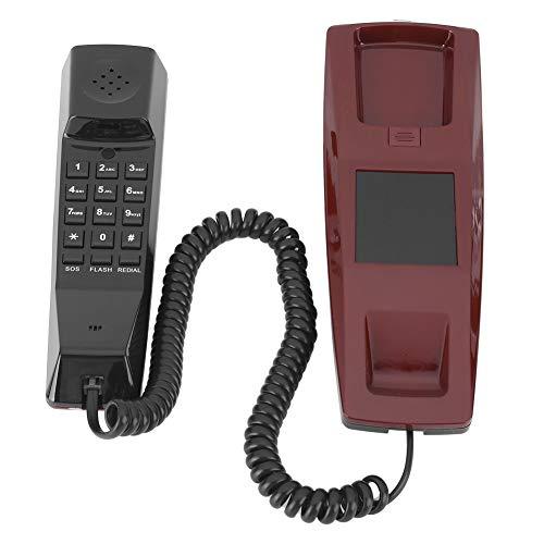 214 Teléfono con Cable, Escritorio con Cable/Soporte telefónico de comunicación montado en la Pared Silencio/Flash/Cambio/Remarcación automática, para Oficina/hogar/Hotel(Rojo)