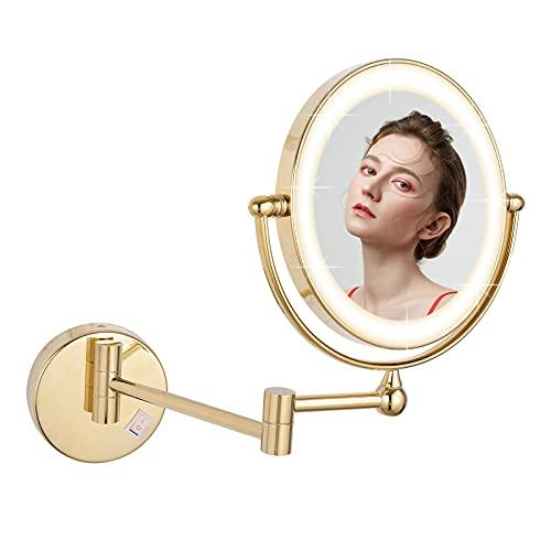 DOWRY Espejo cosmético con 10 aumentos, iluminado, espejo de pared para baño redondo iluminado, espejo de pared decorativo...