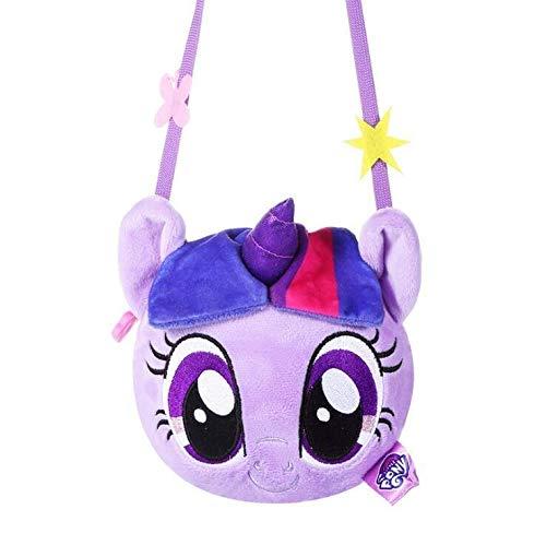 My little pony New pony bao li children's purse plush backpack cartoon cute doll cross body bag girl toys· (Color : Purple)