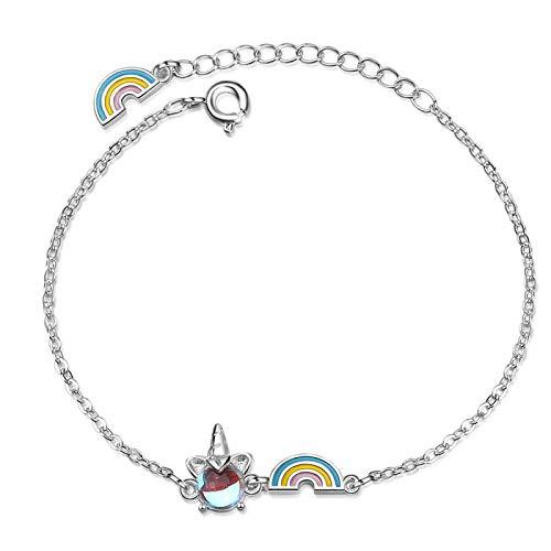 regalos originales para mujer,de amistad,pulseras pareja,Pulseras y brazalete con dijes de unicornio arcoíris de ópalo de plata esterlina para mujer, joyería para fiesta de boda