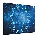 M-shop Pintura 16 'X 20' Astrología Abstracto Horóscopo Rueda Con Signos Acuario León Tauro Libra Es Azul Marino Blanco Y Azul Cielo Panorámico Lienzo Arte de pared