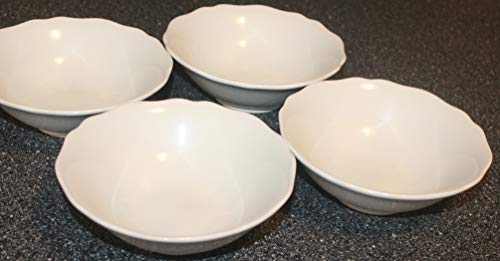 "Ikea ARV SET/4 ~ Coupe Cereal Bowl 6"" ~ All White, Embossed, Rim, Scalloped"