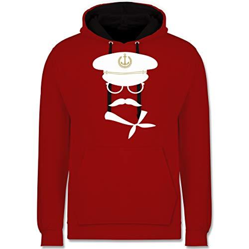 Shirtracer Karneval & Fasching - Matrose weiß/Gold - L - Rot/Schwarz - Matrose - JH003 - Hoodie zweifarbig und Kapuzenpullover für Herren und Damen