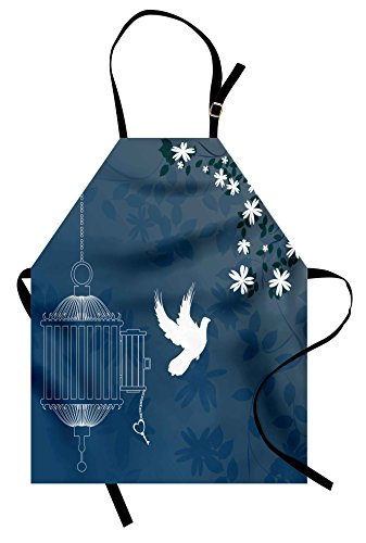 Lunarable Romantic Apron, French Style Love Theme Bird Cage and Dove Flying Out with Swirls, Unisex Kitchen Bib Apron with Adjustable Neck for Cooking Baking Gardening, White Slate Blue and Indigo
