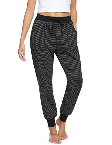 Hawiton Damen Schlafanzughose lang Pyjamahose Baumwolle Gestreifte Nachtwäsche Hose für Sport,Jogging,Training,Yoga A-Schwarz XXL