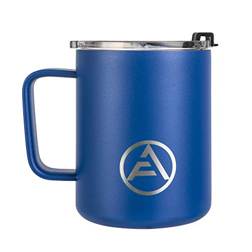EAF Stainless Steel Coffee Mug with Handle, Double Wall Insulated Travel Mug Camping, 12 oz Coffee Tumbler Cup for Home Office Outdoor Hot Cold Water Beer Wine Soda - Powder Coated Classic Blue