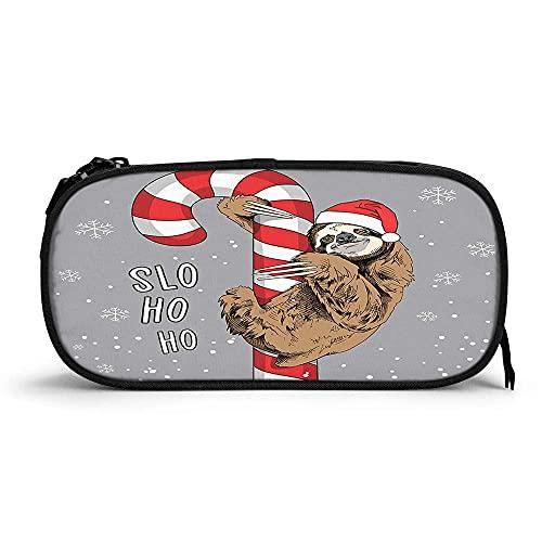 Linda perezoso marrón alta capacidad pluma caso caramelo caña Santa sombrero grande Lollipop Slo Ho Ho Cita Animal de nieve durable lápiz bolsa papelería cremallera bolsa