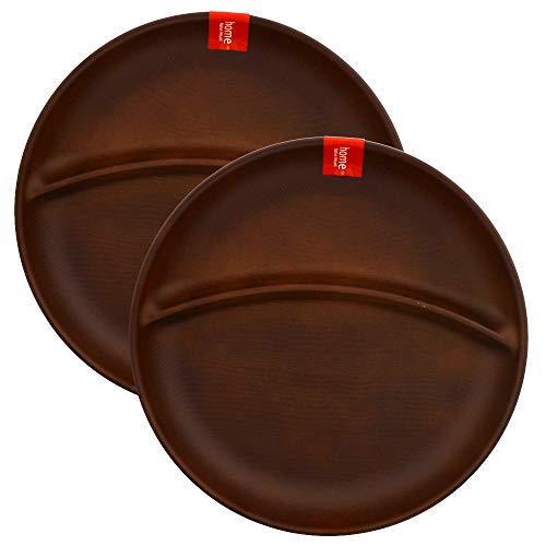 テーブルウェアイースト ランチプレート 丸型2つ仕切り ペアセット(ライトブラウン) 食器セット レンジ・食洗機OK (2枚セット ライトブラウン)