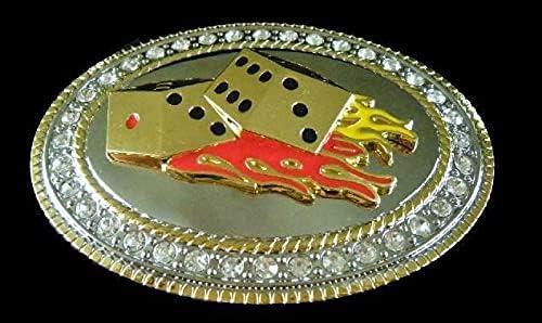 OFFicial Rhinestone Oval Gambling Dice Craps Cool Buckl Vegas Belt New product! New type Casino