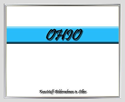 Kunststoff-Bilderrahmen Ohio 40 x 100 cm Silber mit 1mm Acrylglas klar und weißer Rückwand – WhiteFix/Easy to Use. Posterrahmen in vielen Farben und Größen. Maßanfertigung möglich