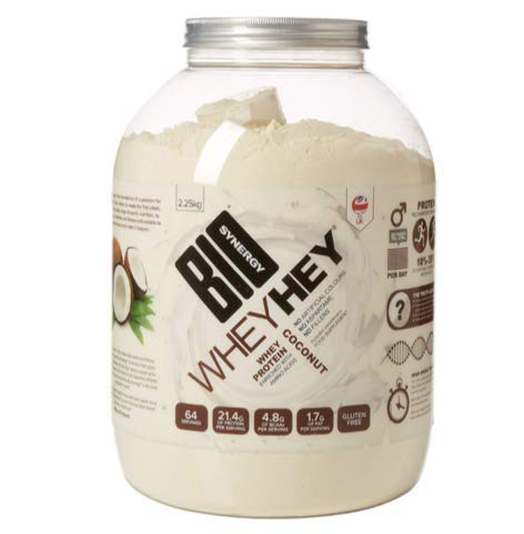 Bio-Synergy Whey Hey Coconut Whey Protein Powder Enriched with Amino Acids Gluten Free, No Artificial Flavours, Aspartame, High Protein Easy Mix 2.25 Kilos Pure Protein, 64 Servings Food Supplement.