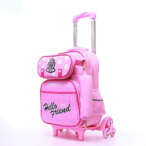 GWCASA Sac à roulettes portatif, Sac à Dos à Barre de remorquage à Six Roues pour escalier d'escalade Amovible, Sac à Dos Unisexe pour étudiant en Sport-Pink