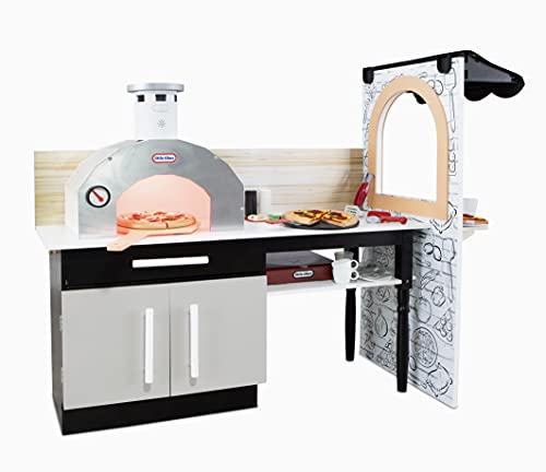 Little Tikes Real Wood Pizza Restaurant Roleplay Pizza Kitchen Cook and Serve with Realistic Lights & Sounds and Dual-Sided Play for Girls Boys –...