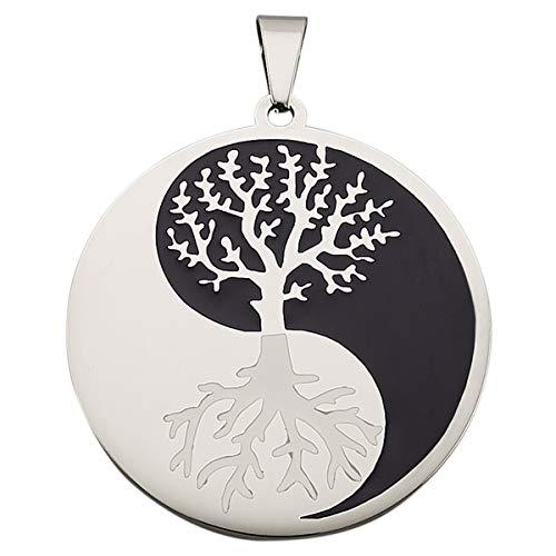 Magnetic Balance Joya magnética Yin Yang colgante con diseño de árbol de la vida para collares, acero inoxidable, 1200 gauss, incluye ojal de 5,1 x 4,0 cm