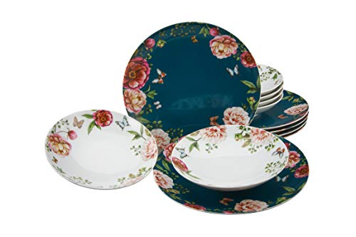 Creatable 22220 Enjoy Roses - Vajilla (12 piezas, porcelana), color blanco