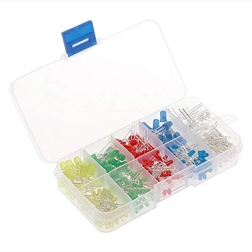 Taidallo DIY 300 stuks 3 mm 5 mm kleur gesorteerd 2 pins LED licht en diode set met 5 kleuren elektronische componenten gereedschap en DIY