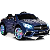 Ride On Toys - Electric 12V Battery Powered Remote Control Car - Kids Ride On Car with LED wheels, Sound Buttons, Open Trunk, Leather Seat, MP4 Screen for Music, Movies, Cartoons and Education Blue