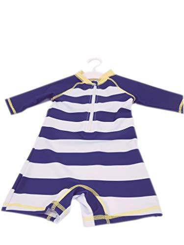 Doux Soleil - Traje de baño anti UV UPF50+ para niño Bretaña marinero rayas 6 años