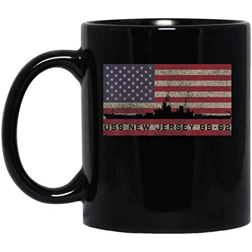 USS New Jersey BB 62 Battleship USA American Flag Veterans Day Mug