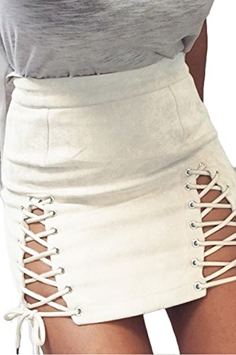 Meyeeka Women's Criss Cross Mini Skirt Sexy Split Faux Suede High Waist Skirt White S
