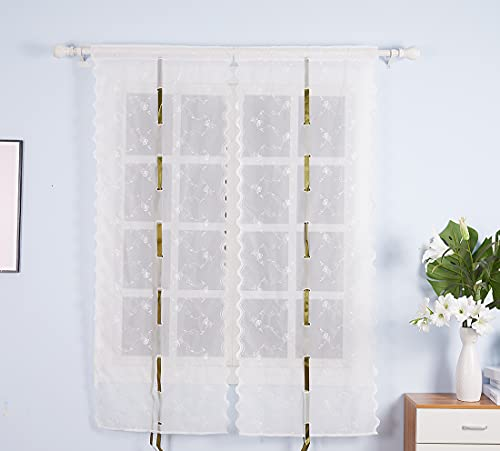 White Sheer Balloon Curtains for Windows 32x66inch, Embroidery Flower Polyester Curtain Panels Tie Up Roman Shades for Small Window Treatment Valance (32x66 inch, White)