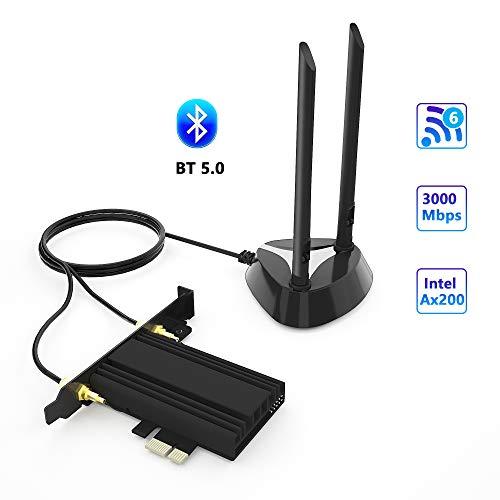 Arkidyn AX200 WiFi 6-Karte, AX2974Mbps Wireless-Adapter, 802.11ax PCIe WiFi-Karte Bluetooth 5.0, mit MU-MIMO, OFDMA, extrem niedrige Latenz, Unterstützung für Windows 10