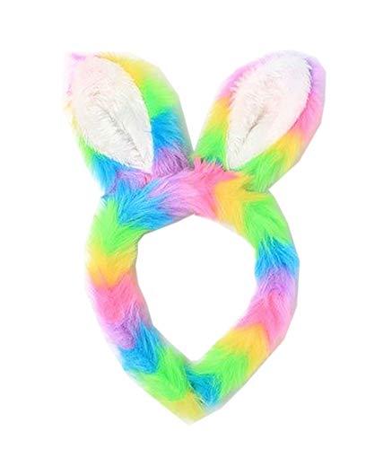 Bandeau oreilles de lapin avec fausse fourrure arc-en-ciel - - Taille Unique