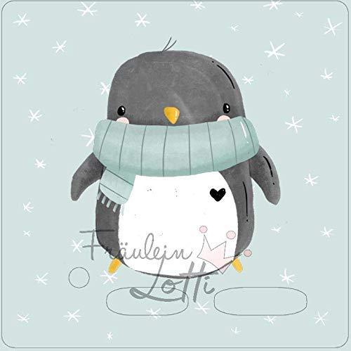 Aufkleber/Schutzfolie/Folie, Toniebox Zubehör, Design von Paul und Clara, Motivfolie mit Pinguin mit Schneeflocken-Hintergrund, inkl. transparenter Schutzfolie