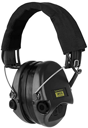 Sordin Supreme PRO X - Active Hearing Protection Safety Ear Muffs with Gel Seals - Black Canvas Headband and Cups