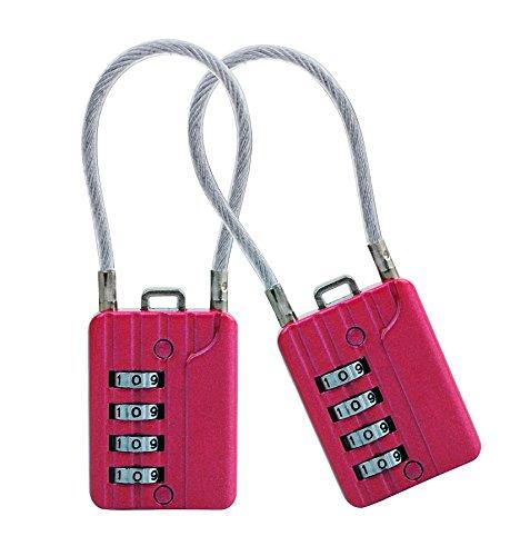 Sepox Rücksetzbares Zahlen-Reisekabelschloss, 4-stellig, für Koffer, Reisetasche, Aktenschränke, Werkzeugkoffer, rot