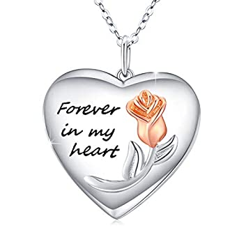 Rose Flower Heart Locket Necklace Locket Necklace That Holds Pictures S925 Sterling Silver Forever in My Heart Necklace Gift for Women Girlfriend rose glod