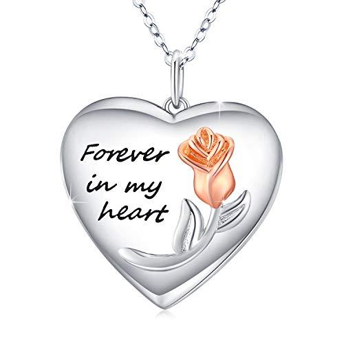 Collares Foto de plata de ley 925 Medallón Forma Corazón para Mujer, Collar Medallón con diseño de flor de rosa Colgante de Guardapelo Personalizado Regalo cumpleaños aniversarios Colgante Locket