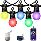 VELTED 49FT Smart Outdoor String Lights RGB Color Changing Works with Alexa & Google Home, Hanging String Lights Dreamcolor with 15 LED Bulbs Waterproof, Commercial Grade Patio Café Yard Garden Light