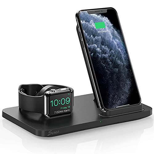 Seneo New Version Dual 2 in 1 Wireless Charger, Apple Watch Charging Stand, Nightstand Mode for...