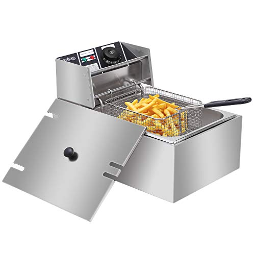 Deep Fryers for Home, Single Cylinder Electric Fryer with Stainless Steel Removable Basket, Lid, Timer Electroplating Metal Frying Machine Oil Filter for Countertop, Kitchen and Commercial Use 6.3QT/6L 2500W