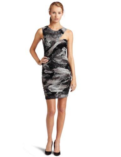 Big Sale BCBGMAXAZRIA Womens Roxanne Printed Dress, Black/White, Large