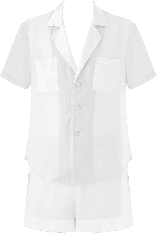 Lejafay Men's Sheer Chiffon Pajamas Set Short Sleeve Sleepwear Button Down Nightwear Lounge Sets