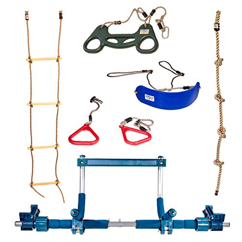 Gym1 Deluxe Indoor Playground with Indoor Swing, Plastic Rings, Trapeze Bar, Climbing Ladder, and Swinging Rope … Florida