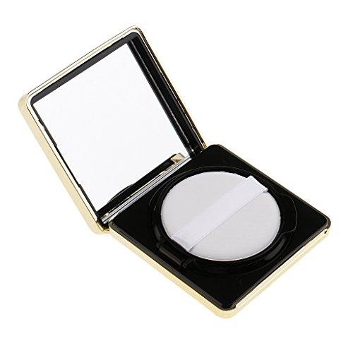 Sharplace Carrée Boîte de Maquillage avec Houppette Eponge Coussin d'Air et Miroir pour Bricolage de BB Crème, Poudre Fard à Joues, Correcteur - Noir