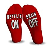 Netflix on, Brain off   Funny Wine Socks for gifts for women, gifts for mom, grandmother gifts, birthday, anniversary gifts for her, mothers day, funny accessory, gift under 20 dollars
