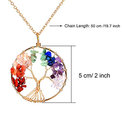 3 Pieces Life Tree Pendant Necklace Handmade Crystal Necklace Jewelry with 50 cm/ 19.7 Inch Long Chain, Gold, Bronze and Silver