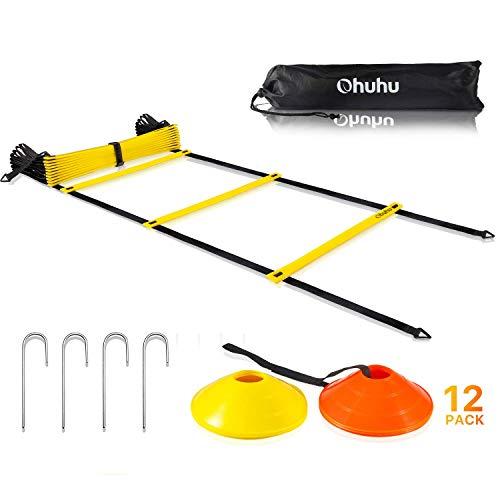 Ohuhu Beweglichkeitsleiter Trainingsset - 12 Sprossen-Schnellleiter mit 12 Feldkegeln und 4 Pfählen, Fußarbeitsausrüstung für Fußball und Football Übungsdrills.